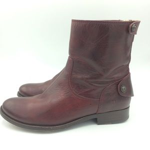 Frye Melissa Button ZIP short leather boots nice!